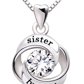 Jewelry Sterling Silver sister and brother Love Heart Cubic Zirconia Pendant Necklace