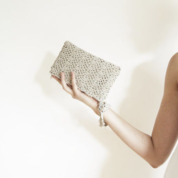 Warm Grey Crochet Clutch Bag with Swarovski Crystal Button