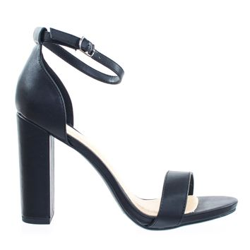 ShinerD BlackPu by Delicious, Chunky Block High Heel Sandal w Ankle Strap & Low Platform