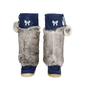Navy Blue Suede Mukluks with White Embroidery