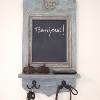 Vintage Style French Riviera Apartment Message Center with Chalkboard, Key Hooks and Shelf