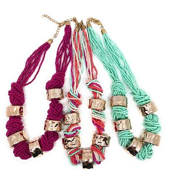 Girls Bohemian Beads and Knots Necklace