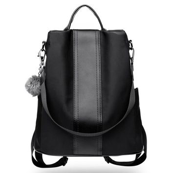 University College Backpack Anti-theft Leather Fur ball Women's   School Bag Large Capacity Female Women Travel  For Teenagers GirlsAT_63_4