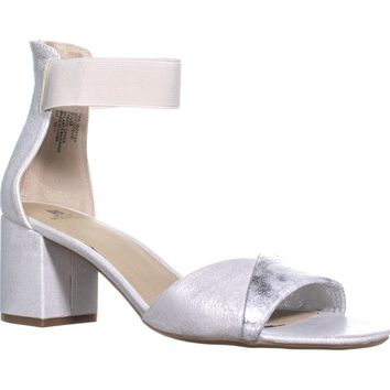 White Mountain Evie Criss Crossed Ankle Strap Sandals, Silver/Fabric, 6.5 US