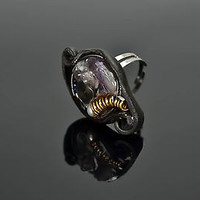 Polymer clay ring with amethyst Magic Seal Ring handmade adornment for women