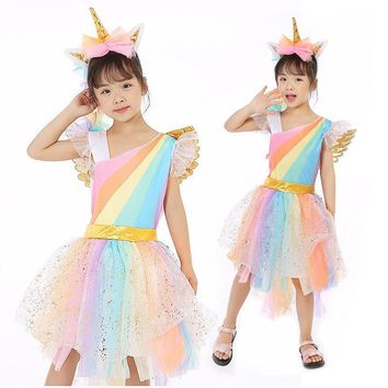 Retail Children Girl Costume Rainbow Unicorn Dress Kids Girl Halloween Party Dress With Head wear+Wing Girl Tutu Dress DJS01