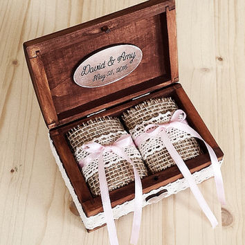 Personalized Wedding Ring Box   Wooden Ring Holder   Rustic Wedding Ring Box    Ring Bearer
