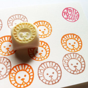 small animal face stamp. hand carved rubber stamp. lion. READY TO SHIP