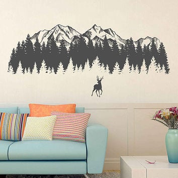 Mountain Wall Decals Deer Wall Decals Woodland Wall Decals Mountain wall art Nursery Decor Woodland Baby room for Bedrooms kik3429