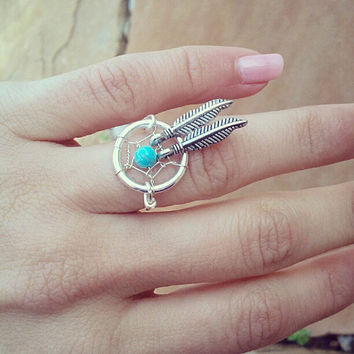 Turquoise Stone Dream Catcher Double Feather Ring- Two Feather Charm Silver Plated Wire Wrapped Finger Jewelry Size 3 4 5 6 7 8 9 10