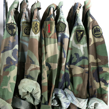 Vintage Camo Jacket 90s Military Army Issued Slouchy Grunge Button Down All Sizes