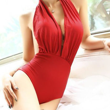 Red Sleeveless Halterneck One-Piece Swimsuit