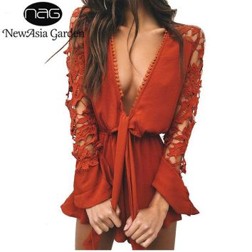 DCCKL3Z NewAsia Garden V-Neck Bow Tie Front Chiffon Lace Playsuit Ruffles Wrap Rompers Flare Sleeve Floral Jumpsuit Women Beach Overalls