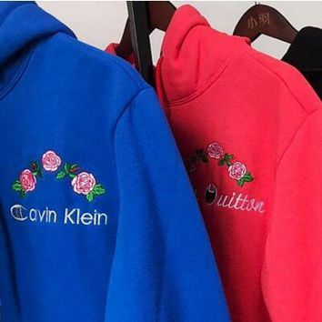 GUCCI-Louis Vuitton-Christian Dior-Versace-Calvin Klein-Champion Trending Women Men Flower Rose Embroidered Hoodie Top Sweater I