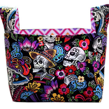 NEW Bedroom Storage Bin | Fabric Storage Bin | Desk Organizer | Sugar Skulls Basket | Day of the Dead Container