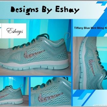 Custom Bling Rhinestone Nike Free 5.0 Tiff Blue Mint Sneakers