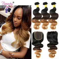 Ombre Blonde Bundles With Closure Ombre Brazilian Blond Human Hair Body Wave 3 Bundles With Closure T1B/4/27 3 Tone Remy Hair
