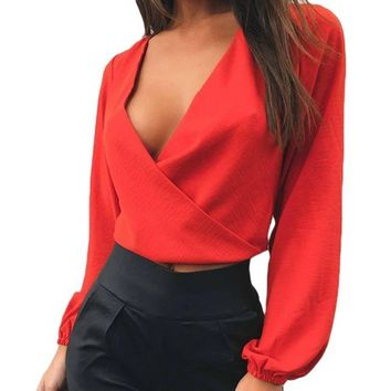 Wrap Front Bowknot Chiffon Long Sleeve Crop Top