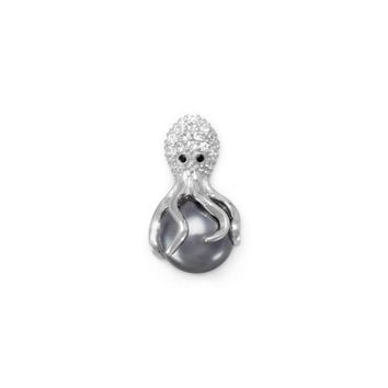 Cubic Zirconia and Simulated Pearl Octopus Slide