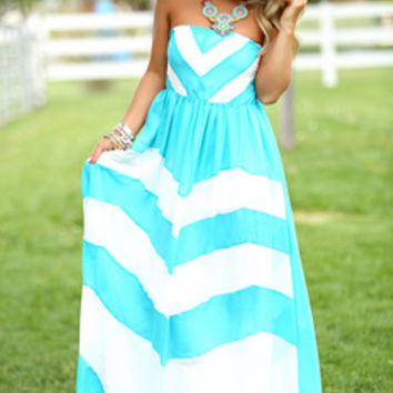 Dreamy Chevron Maxi Turquoise CLEARANCE - Modern Vintage Boutique