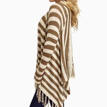 Mocha-Ivory-Striped-Fringe-Hem-Knit-Cardigan