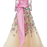 Nude Tulle Ball Gown With Floral Embroidery | Moda Operandi