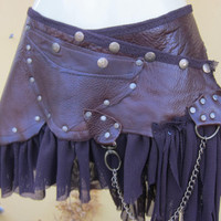"tribal leather mini skirt belt/ with pocket,lace and stud detail....32"" to 40"" hip"
