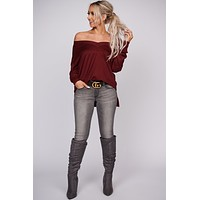 Pay Close Attention Long Sleeve Knit Top (Burgundy)