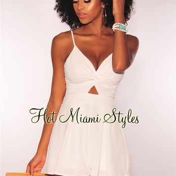 Off White Knotted Tie Up Babydoll Romper