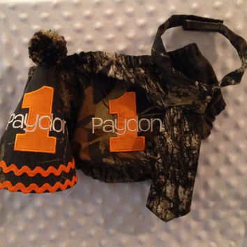 Boys Cake Smash Outfit - Mossy Oak Camo - Diaper Cover, Tie & Birthday Hat - Birthday Outfit