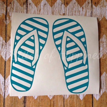 Flip Flop Car Decal - Beach Decal - Summer Vinyl Decal