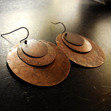 Large Hand Hammered Copper Layered Earrings / Wiccan Copper Earrings / Pagan Jewelry / Magical Spiritual Cooper Wicca Earrings