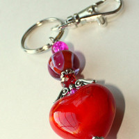 Angelic Heart Key Ring, Angel Wing, Pink and Red, Lampwork, Beaded Key Chain, Hot Pink