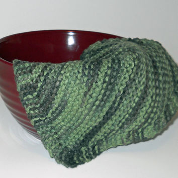 Hand Knit Cotton Dishcloth in Renegade Green,  Hand Knit Cotton Washcloth