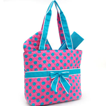 Quilted Polka Dot 3pc Diaper Bag w/ Ribbon Accents - Pink/Blue Color: Pink/Blue