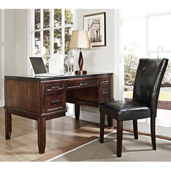 Steve Silver Chamberlain Black Granite Top Writing Desk w/ Parsons Chair