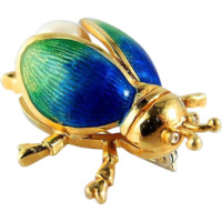 Adorable 18K solid gold enamel beetle, stamped scarab brooch, guilloché enamel, pearl, fine insect jewelry