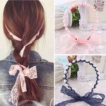 ONETOW 2017 Women Headbands Lace Hair Accessories Summer Style Imitated Pearl Scrunchy Hair Bows Elastic Hair Bands Flower Hairbands