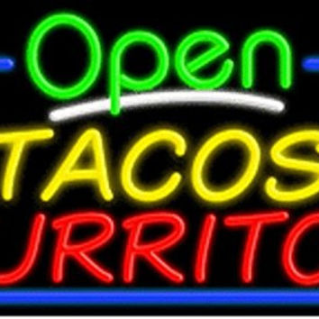 Tacos Burritos Open Handcrafted Energy Efficient Glasstube Neon Signs