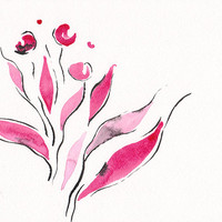 Original flower art. Black and pink abstract drawing of flowers. Modern looking floral decor. Wall art sketch.