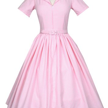 Manuela Dress in Pink Gingham