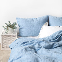 AUS Queen Size Sky Blue Linen Bed Set