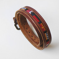 Leather belt vintage unique belt with flags by kapelusznik on Etsy