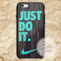 Mint chevron nike  on dark wood iPhone 4/4S, 5/5S, 5C Series, Samsung Galaxy S3, Samsung Galaxy S4, Samsung Galaxy S5 - Hard Plastic, Rubber Case