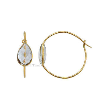 Crystal Quartz 10mm x 14mm Micron Gold Plated Hammered 925 Sterling Silver Hoop Earring - #5100