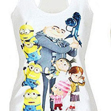 "Womens ""Despciable me "" Minions, Drew , Kids on a White Tank Top ( Runs Small)"