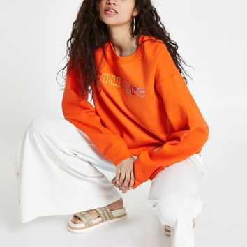 Orange 'couture' cropped sweatshirt - Hoodies / Sweatshirts - Tops - women