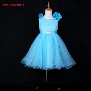 Don's Bridal Ocean Blue Organza Flower Girl Dresses For Bow Sashes Ball Gown  3D shoulder Flower and Sequined Kids Gowns