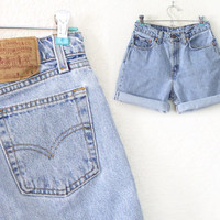 Vintage Levis 560 High Waisted Denim Cutoff Jean Shorts - 80s 90s Cuffed Light Blue Rinse Women's Baggy Levis Shorts - Size 7