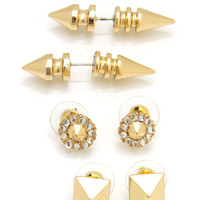 pyramid-spike-earring-set GOLD SILVER - GoJane.com